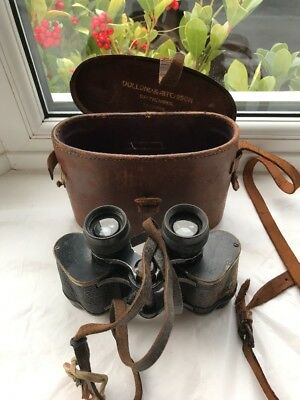 World War 1 Binoculars Stamped No 29 With Hand Stitched Leather Case
