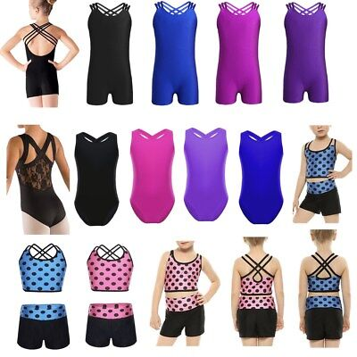 Kids Girls Ballet Dancing Gymnastics Leotards Dress Bodysuit Dancewear Costume
