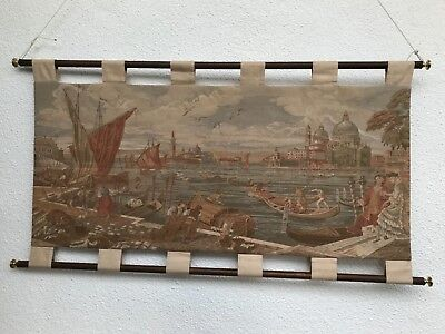 Vintage Venetian scene tapestry with hanging rods