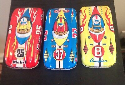 Vintage Tin Race Cars Mobile Shell Esso Gas Advertising Toys Set Of Three Japan