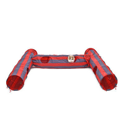 Pet Cat Tunnel Toys 2 Holes Striped Collapsible Red-Grey Toy DIY Combination