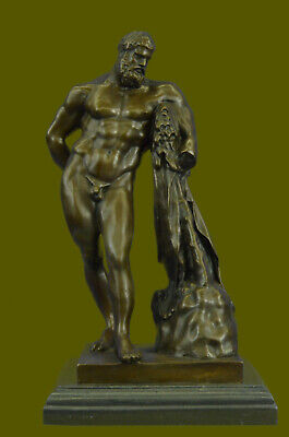 Handmade Bronze FARNESE HERCULES signed Glycon Handcrafted Detailed Decor