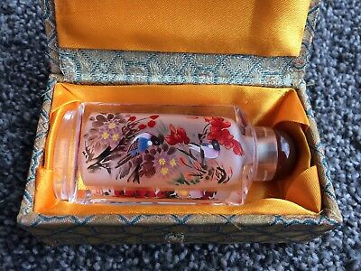 Chinese Snuff Bottle, Hand-Painted & Signed, w/Box, Glass