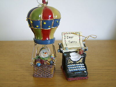 Two Vintage Resin Christmas Tree Ornaments Typewriter and Hot Air Balloon