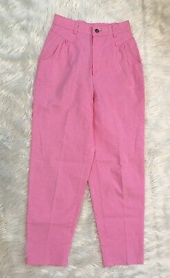 """Vintage 70s Pastel Pink High Waisted 80s Boho Cotton Hipster Mom Trousers 29""""x29"""
