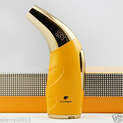 COHIBA Golden Horn Style  1 Torch Jet Flame Cigar Cigarette Lighter W/ Punch