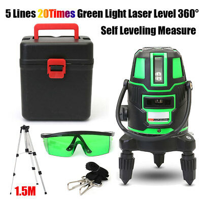 5 Line 6 Point Green Self Leveling Laser Level Auto 360° Rotating Cross + Tripod