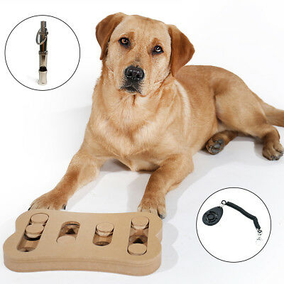 Pet Dog Puzzle IQ Training Interactive Toy Kit Slow Feeder with Clicker Whistle