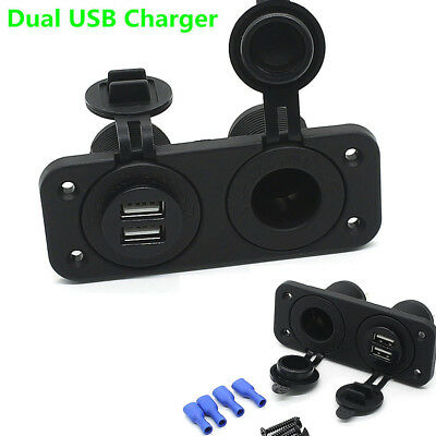 12V Dual Port USB Charger and Socket Car Boat Panel Mount Marine Power Outlet