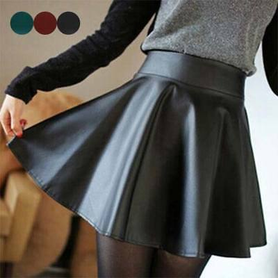 Womens High Waist PU Leather Skater Mini Skirts Solid Color Short Pleated Skirts