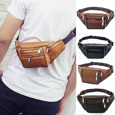 USA Black Leather Fanny Pack- Mens Waist Belt Bag -Womens Purse Hip Pouch Travel