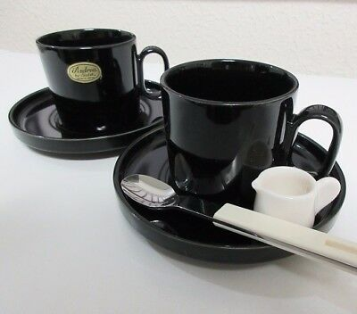 Showa Retro Japanese Made Pottery Milk Pitcher & Coffee Set with Spoon EMS F/S!