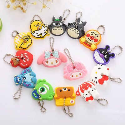 1 pair Cute PVC Cartoon rubber Key Cover case Cap Keychain Key Ring