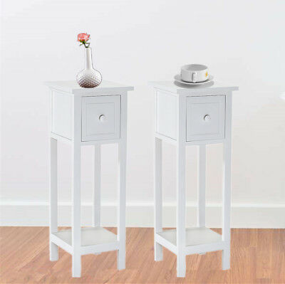 Pair of Bedside Table With Drawer Wooden Telephone Unit Slim Hallway Living Room
