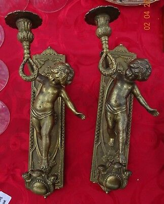 Pr Antique Bronze French Putti Candle Wall Sconces