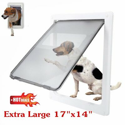 Extra Large 17x14 Inch Pet Safety Big Fat Cat Dog Lockable Gate Flap