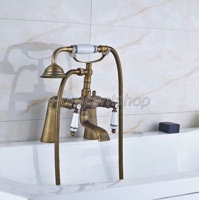 Antique Brass Deck Mounted Bathroom ClawFoot Tub Faucet With Hand Shower Ban013