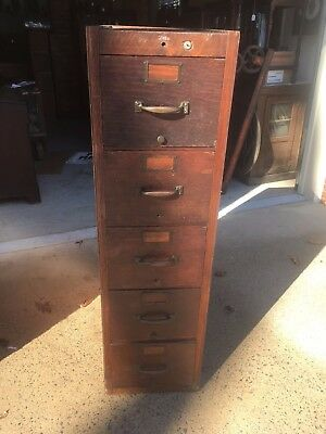 Antique Late 1800s Globe Wood Oak 5 Drawer File Cabinet