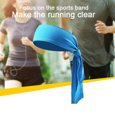 HK- Outdoor Sweatband Sports Running Basketball Head Tie Tennis Headband Wrap Ex