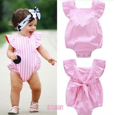 Baby Girl Striped Pink Romper