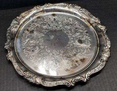 """Sheridan 12"""" Round Silverplate Serving Tray/Salver Chased Scroll Design EP Brass"""