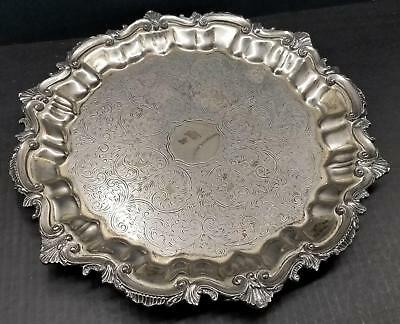 """Birmingham Silver Co 14.5"""" Round Silverplate Footed Serving Tray Chased Scroll"""