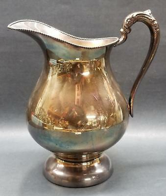 "Prill Silver Co 9"" Silverplate Pedstal Water Jug/Pitcher Beaded Trim Excellent"