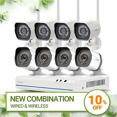 Zmodo 8CH NVR 4  Wired & 4 Wireless  Network PoE Home Security Camera System