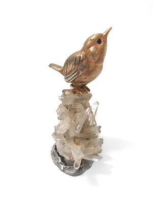 Marcello Minotto Realistically Modelled Silver Sparrow / Rock Crystal Figure