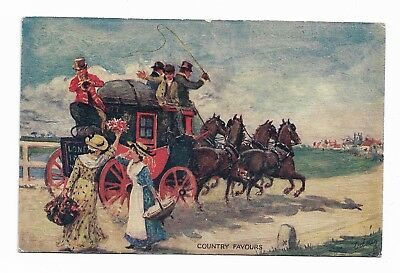 COUNTRY FAVOURS - RAPHAEL TUCK MAIL COACH POSTCARD Early 20th Century 976D
