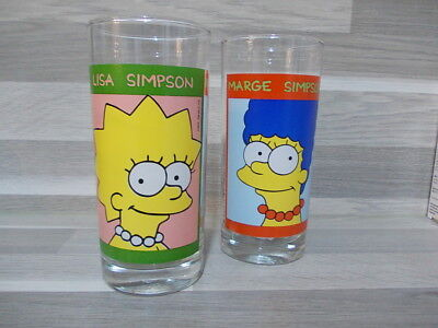 2 X Vintage collection water glasses The Simpsons Lisa & Marge 1998