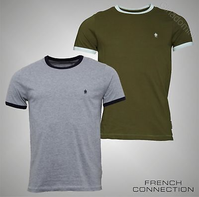 Mens French Connection Short Sleeve Contrast Neck T Shirt Top Sizes S M L XL XXL