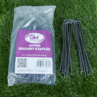 "GroundMaster 6"" (150mm) Heavy Duty Steel Staples Garden Membrane Securing U-Pins"