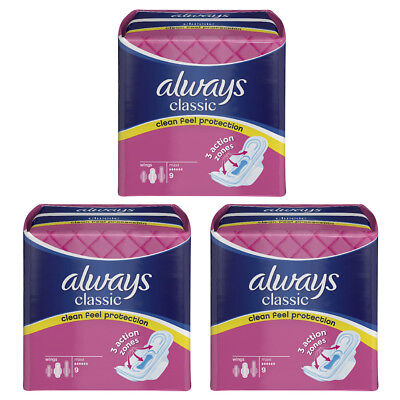 Always Classic Maxi Towels 9 x 3 Pads With 3 Action Zones ( 27 pads)