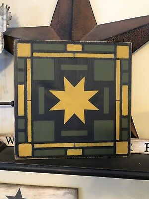 Handpainted Primitive Quilt Barn Star Sign FarmHouse Square Deere Green Yellow
