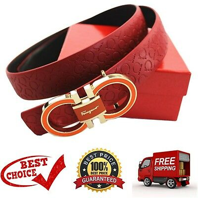 Ferragamo Adjustable Women Leather Waist Belt Red One Size with a Buckle