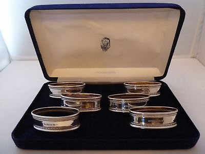 Boxed Set of 6 Hallmarked Solid Silver Napkin Rings Serviette Ring