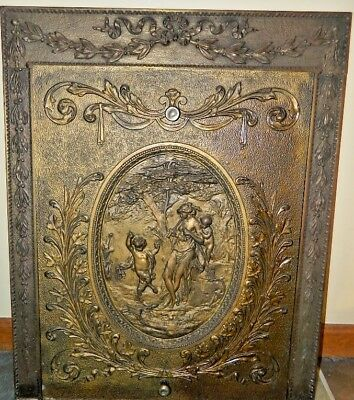 Antique Victorian Very Ornate Fireplace Surround W Insert Copper Bronze Finish