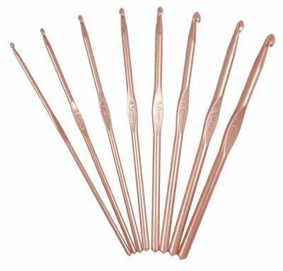 8 rose gold coloured crochet hooks 3/3.5/4/4.5/5/5.5/6/6.5mm x 15cm Milward