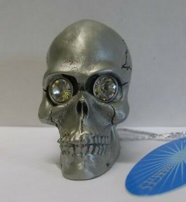 Fine Pewter Skull Figurine with Swarovski Crystal Eyes Ornament  BNWT
