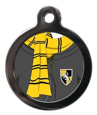 Yellow and Black Scarf Pet Tag Wizard Movie Film Themed Dog Cat ID Custom Tags