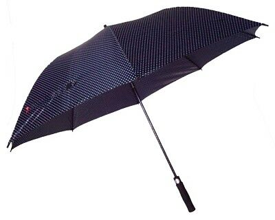 Golf Umbrella Windproof Fibreglass Frame and Shaft- Auto - Black White Polka Dot