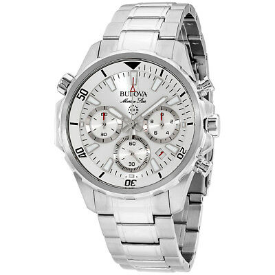 Bulova Marine Star White Dial Stainless Steel Men'S Watch 96B255