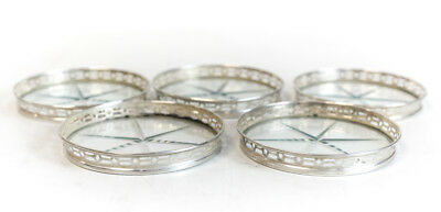 5 Vintage Sterling Silver Pierced & Cut Glass Coasters