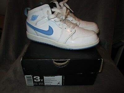 6e888fbdbaa Nike Jordan 1 Mid BP 3Y Youth White Legend Blue Black Sneakers Shoes 640734 -127