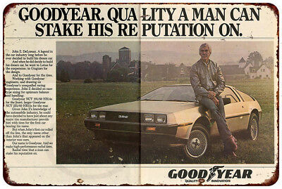 DMC DeLorean Goodyear Tire Magazine Ad Reproduction Metal sign 8 x 12