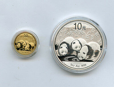 2013 Gold And Silver China Proof Panda Set With Boxes And Coa