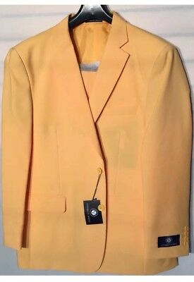 Vittorio St. Angelo  NEW Mens 2 Button Suit Solid Color Yellow Shell  More Sizes