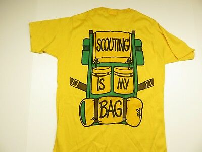 "80s GIRL SCOUTS ""Scouting is My Bag"" Yellow Children's Shirt Size Large (34-36)"