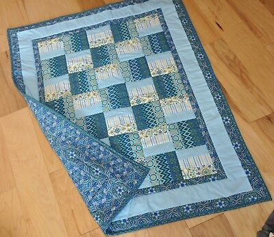 """New Handmade Baby Quilt Blanket Throw Blue/ White Mixed prints 34.5"""" x 43"""""""